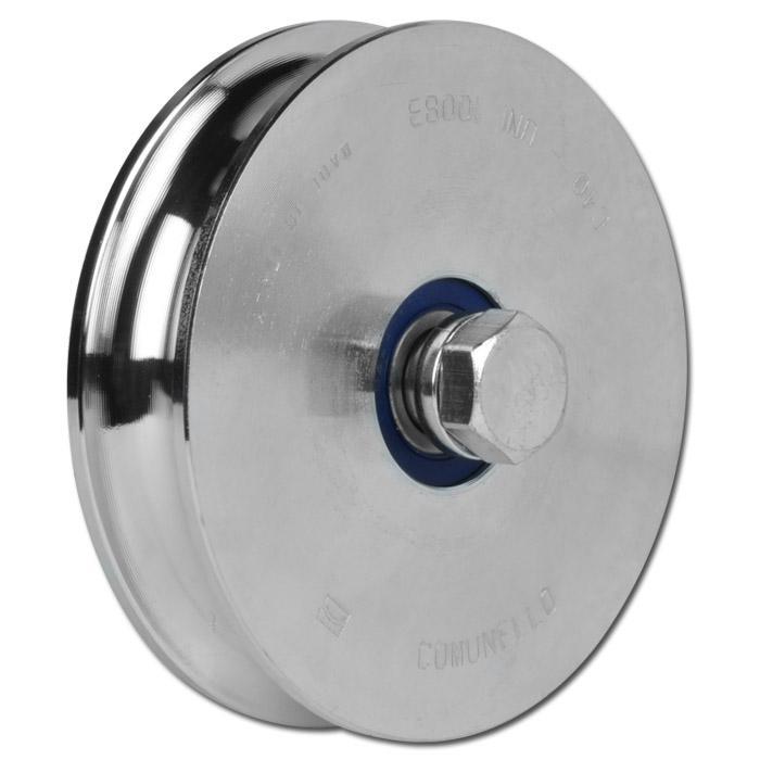 Laufrolle - Stahl verzinkt - halbrunde Nut - 2 Kugellager - Rad-Ø 98 bis 197 mm - Tragkraft 425 bis 625 kg