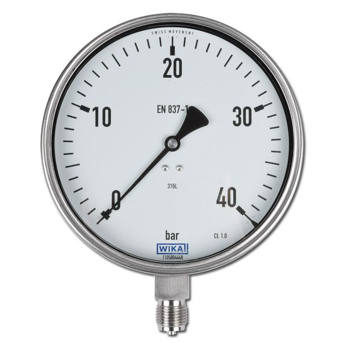 Manometer - Klasse 1,0 - Ø 160 mm - stehend - -1 bar bis 1000bar Messbereich - Abgang unten