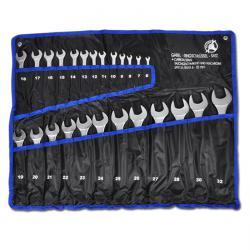 Maulringschlüssel-Satz - Stahl - 6 bis 32mm - 25-tlg - in Rolltasche