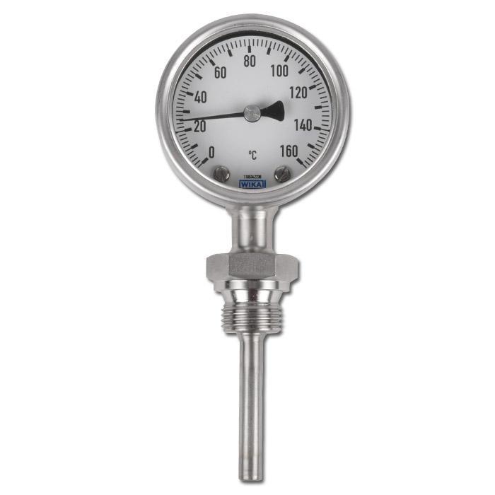 Bimetallthermometer Klasse 1,0 - Durchmesser 63 mm - senkrecht ohne Schutzrohr -