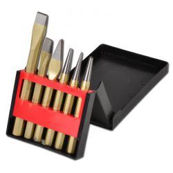 Werkzeugsatz 6-teilig aus Flachmeißel, Kreuzmeißel, Durchschläger, Körner und Ku