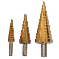 Stufenbohrer-Set - 3-teilig - Titan nitriert - 4 bis 30 mm