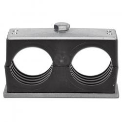 Doppelrohrschelle - mit Anschweiß- und Deckplatte - Baugröße 1 bis 5 - Rohr-Ø 6 bis 42 mm - Preis per Stück