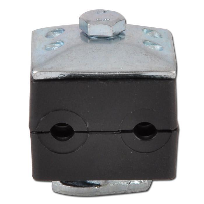 Doppelrohrschelle - mit Tragmuttern KMA - Baugröße 1 bis 5 - Kunststoff - Rohr-Ø 6 bis 42 mm - Preis per Stück