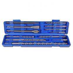 Hammer-Bohrer- und Meisselsatz mit SDS- Schaft - 12-teilig - Hartmetallspitze