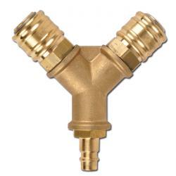 Luftverteiler - Messing - 2 Kupplungsdosen NW 12 - 1 Kupplungsstecker NW 12