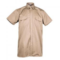 Arbetskjorta - stl. 39 - 100% bomull - kaki - lång rygg, 90 cm