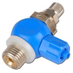 """Drosselrückschlagventil - Kunststoff -  1/8"""" o. 1/4"""" - Abluft regelbar - mit Rändelschraube und Kontermutter - CK-Verschraubung - Ringstück"""
