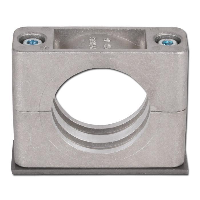 Rohrschelle - Aluminium - mit Anschweißplatte - leichte Baureihe 1 bis 6 - Rohr-Ø 6 bis 50,8 mm - Preis per Stück