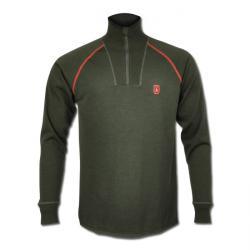 Restposten - Unterhemd - Gr. M - oliv - 85 % Merinowolle - 15 % Silver Nylon - Reißverschluss - waschmaschinenwäsche