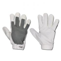 "Work Gloves ""SUKKUR"" - Nappa Leather - White/Grey Color - Norm EN 388/ Class 211"