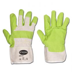 "Work Glove ""KLH"" - Artificial Leather  - Green Color - Norm EN 388/Class 1220"