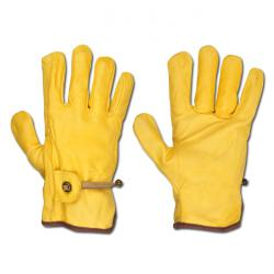 Offiziers - Handschuhe - Farbe gelb - Rindnappa mit Zugband