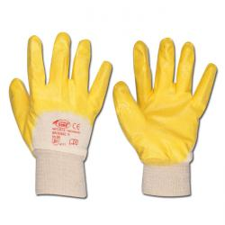 "Work Glove ""YELLOWSTAR"" - Fine Knitted Nitrile Coated - Yellow Color - Norm EN 3"
