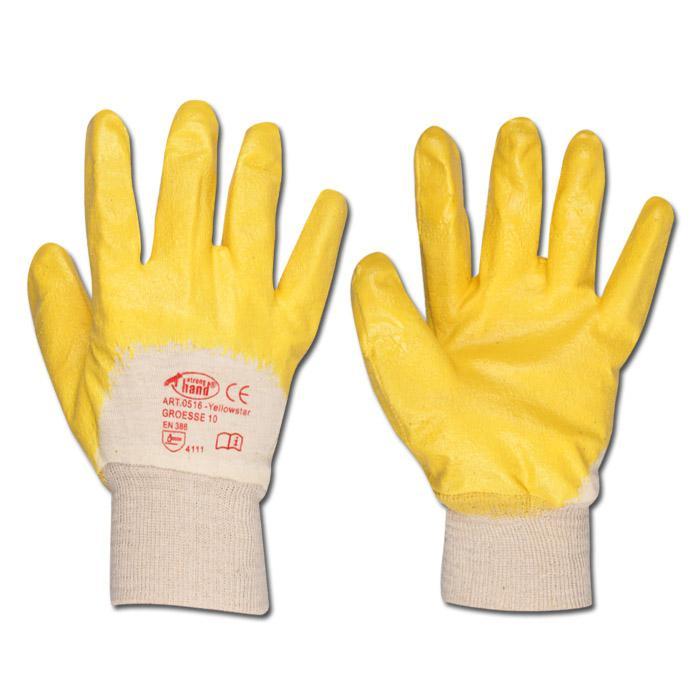 """Arbeitshandschuh """"YELLOWSTAR"""" - Feinstrick mit Nitrilbeschichtet - Farbe gelb - Norm EN 388/ Klasse 4111"""