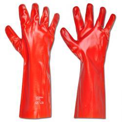 "Handschuh ""DAWSON"" - PVC /Trikot Baumwollfutter - Farbe rotbraun - Norm EN 388/ Klasse 4121"