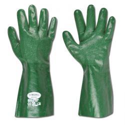 """Arbeitshandschuh""""Houston""""  - PVC mit Baumwollfutter -  Farbe grün - Norm EN 388/ Klasse 4121"""