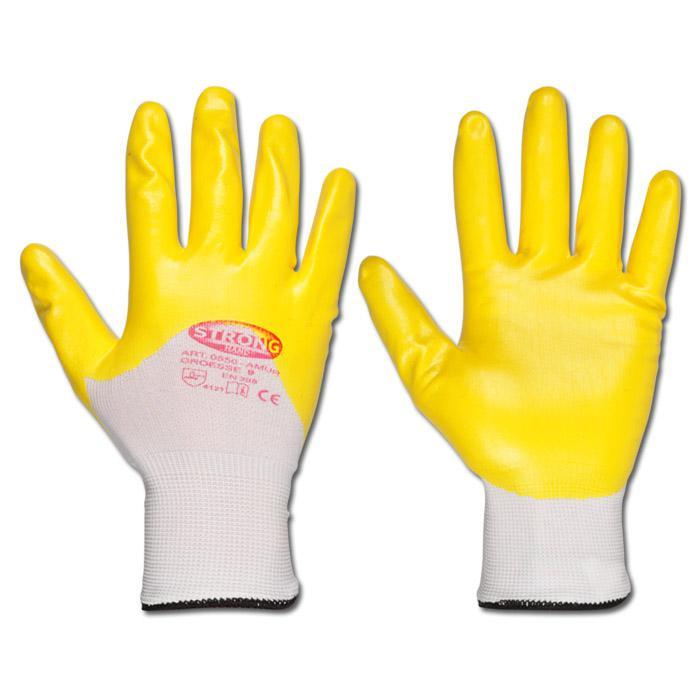 """Handschuhe - """"Amur"""" 100% PES - Nitril gelb - EN 388 - Gr. 7 bis 11"""