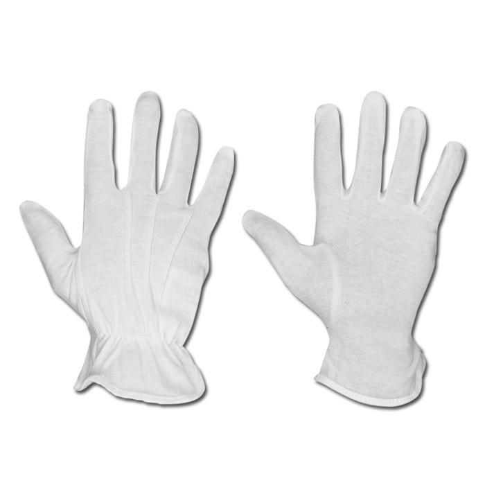 """Trikot-Handschuh """"Baotou"""" - Baumwoll-Trikot mit Noppen - Farbe weiß"""