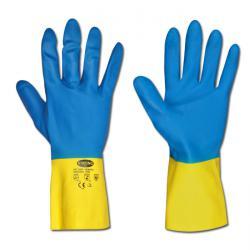 Arbetshandskar - blå/gul - neopren/latex - EN 388/klass 4121