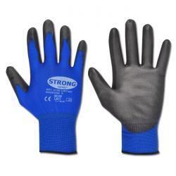 """Arbeitshandschuh """"Lintao"""" - Feinststrick Nylon mit Pu-Beschichtung - Farbe blau/schwarz - Norm EN 388 / Klasse 4131"""
