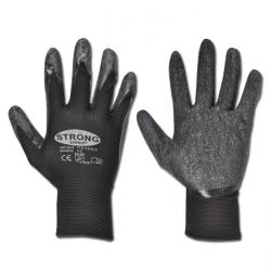 "Work Gloves ""Finegrip"" - Fine Knitted Polyamide With Latex Coating - Black Color"