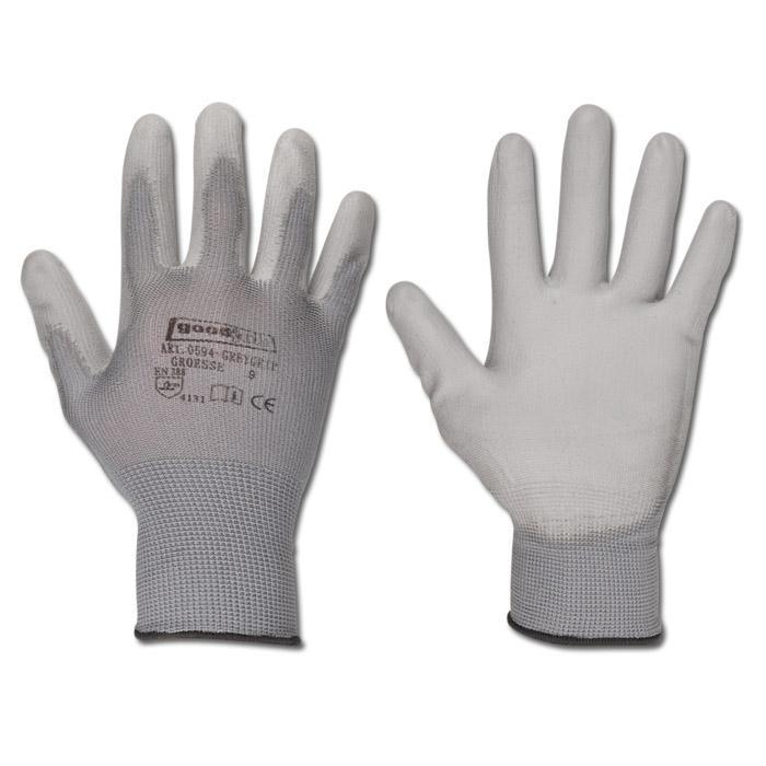 """Arbeitshandschuh """"GREYGRIP"""" - Polyester - Farbe grau - EN 388 / Klasse 4131"""