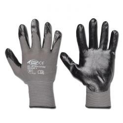"""Arbeitshandschuh """"Datong"""" - Feinstrick Polyamid mit Nitrilbeschichtung - Farbe grau/schwarz - Norm EN 388 / Klasse 4121"""