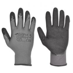 """Arbeitshandschuh """"CANTON"""" - Feinstrick Polyamid nitrilbeschichtet - Farbe grau/schwarz - Norm EN 388 / Klasse 4121"""