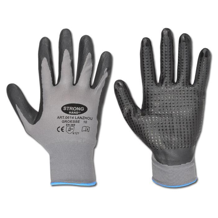 """Handschuh - """"Lanzhou"""" 100% PES - schwarz - mit Nitrilnoppen - EN388"""