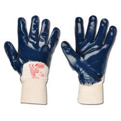 """Arbeitshandschuh """"NITRILSTAR"""" - Feinstrick mit Nitrilbeschichtung - Farbe weiss/blau - Norm EN 388/Klasse 4121"""