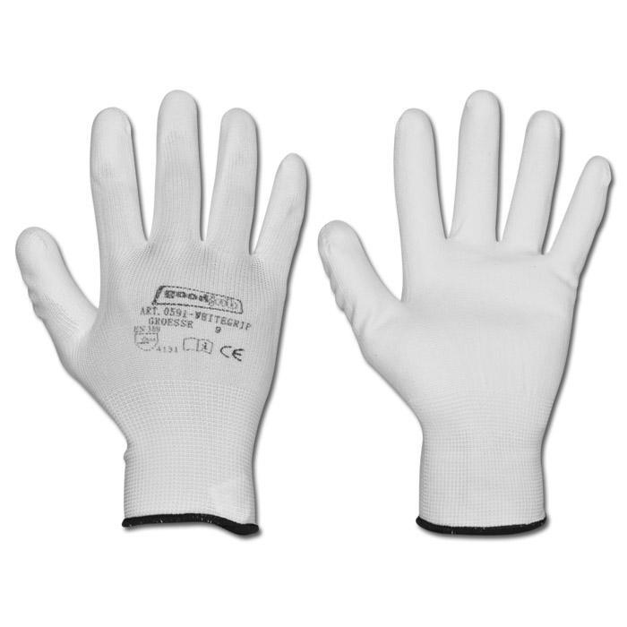 Arbetshandskar - polyester - vit - EN 388/klass 4131