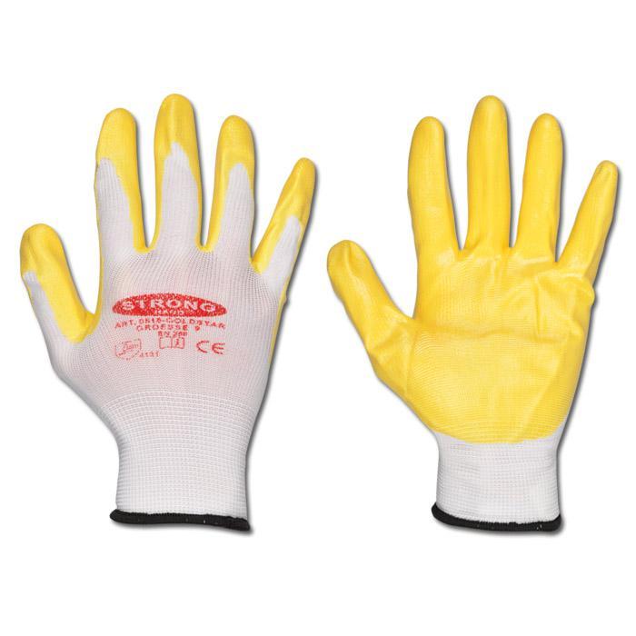 """Arbeitshandschuh """"GOLDSTAR"""" - Polyester - Farbe weiß/gelb - EN 388 / Klasse 4131"""
