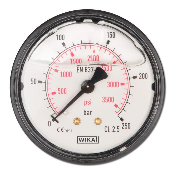 "Glycerin-Manometer - Klasse 2,5 -  Ø 63 mm von -1 bar - bis 400 bar - waagerecht - G 1/4"" B - Kunststoff"