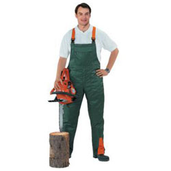Forstschutzlatzhose, grün-orange, Schutzklasse 1,