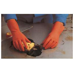 "Naturlig latex handske ""DuoNit 180"" - röd - Kategori 3, EN 374 -. MAPA®"