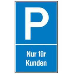 """Parkering skylt """"Endast för kunder"""" - aluminium / plast"""