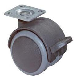 Castor F86 - Plast - med fästplatta - Ø 50 mm - BS ROLLS