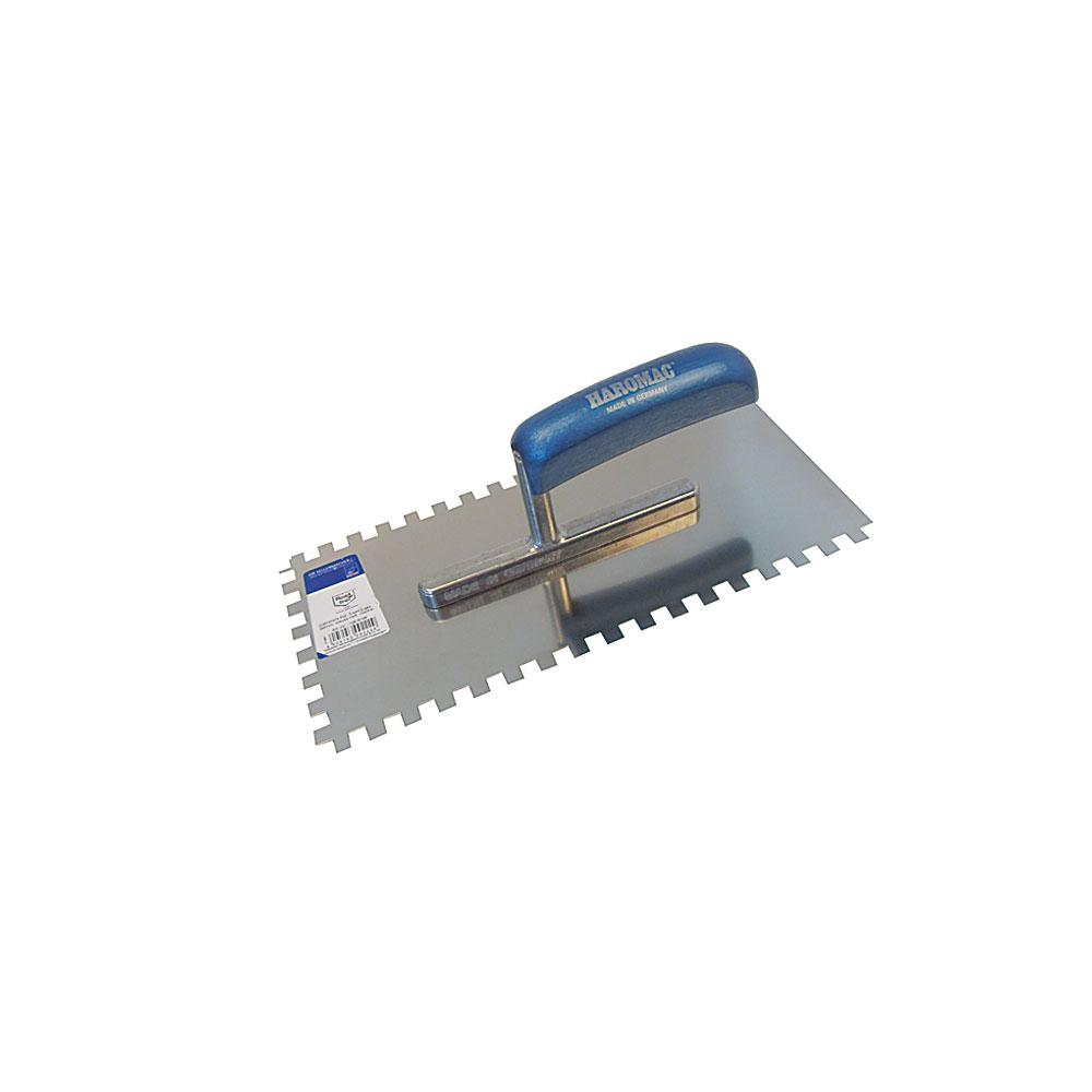 Glättekelle - gezahnt - Edelstahl rostfrei - Blattlänge 280 mm - Blattbreite 130 mm - Holzgriff