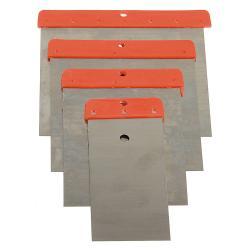 Japanspachtel-Satz - Federbandstahl rostfrei - 4-teilig - Blattbreite 50 mm bis 110 mm - Kunststoffrücken