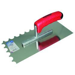 Glättekelle ERGO-TOP - halbrund gezahnt - Edelstahl rostfrei - Blattlänge 280 mm - Blattbreite 130 mm - 2K-Griff