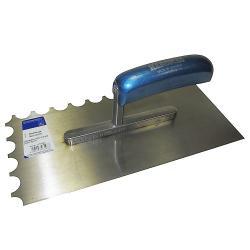 Glättekelle - halbrund gezahnt - Stahl gehärtet - Blattlänge 280 mm - Blattbreite 130 mm - Holzgriff