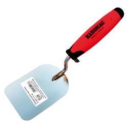 Stukkateurspachtel abgerundet - Edelstahl rostfrei - Blattlänge 110 mm - Blattbreite 80 mm - 2K-Ergo-Softgriff
