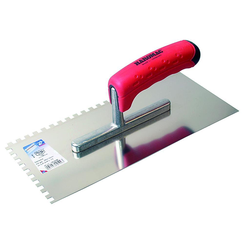 Glättekelle ERGO-TOP - gezahnt - Edelstahl rostfrei - Blattlänge 280 mm - Blattbreite 130 mm - 2K-Griff