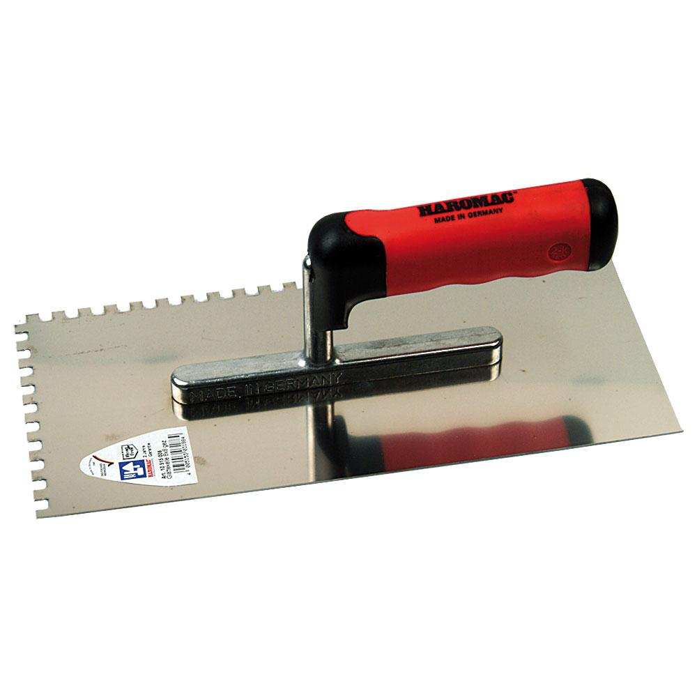 Glättekelle - gezahnt - Edelstahl rostfrei - Blattlänge 280 mm - Blattbreite 130 mm - 2K-Ergo-Softgriff