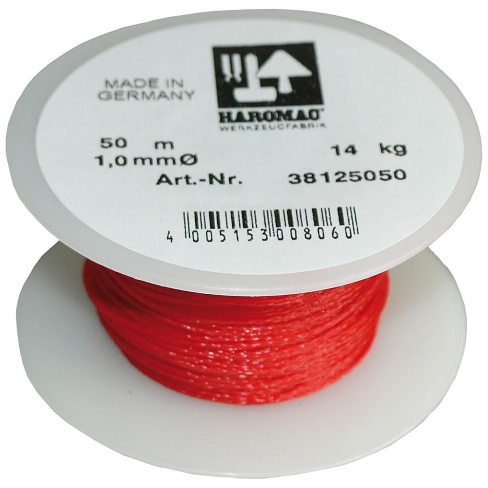 Maurerschnur auf Kunststoffabroller - Polypropylen - Länge 20 m und 50 m - Stärke 1,0 mm - Rot