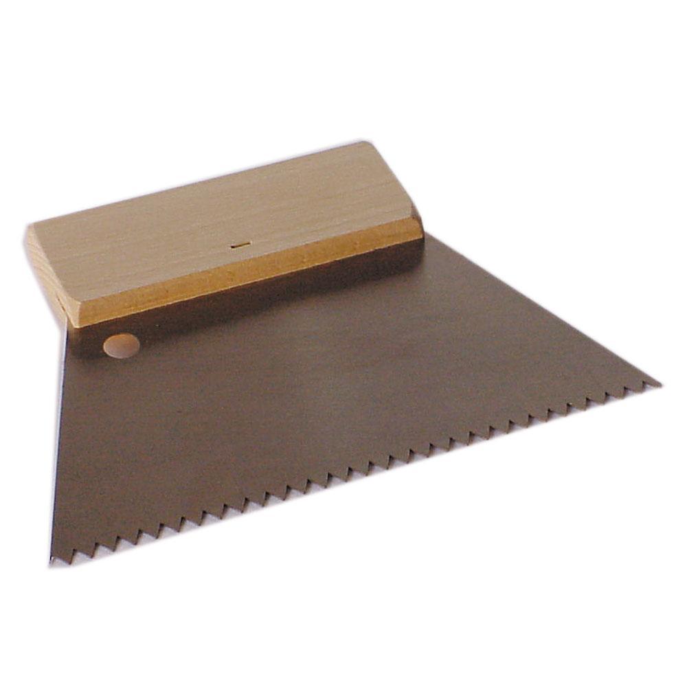 Hammaslaatta - karkaistu työkaluteräs - terän leveys 180 - 250 mm - puinen takaliuska