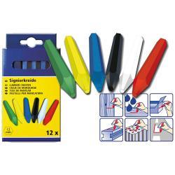 Signierkreide - Wachskreide - 4 Farben - 12 Stück