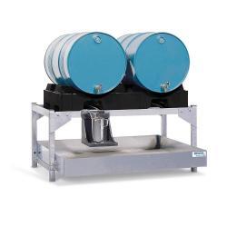 Abfüllstation classic-line - Stahl verzinkt - für 2 Fässer à 200 l - mit PE-Fasspalette
