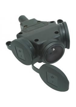 SIROX® Gummi-3-fach-Hängekupplung - belgisch- und französisches Schutzkontaktsystem - Nennspannung 250 V - Nennstrom 16 A